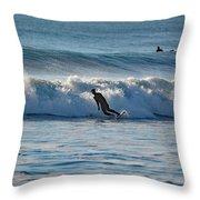 Surfing At Hampton Nh Throw Pillow