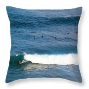 Surfing At Honolua Bay Throw Pillow