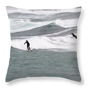 Surfing At Sennen Cove Cornwall Throw Pillow