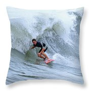 Surfing Bogue Banks 3 Throw Pillow