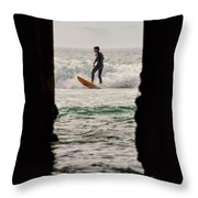 Surfing By The Pier Throw Pillow