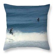 Surfing Carmel Beach Two Throw Pillow