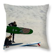 Surfing Couple Throw Pillow