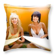 Surfing Holiday Throw Pillow
