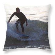 Surfing Narragansett Throw Pillow