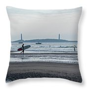 Surfing On Good Harbor Beach Gloucester Ma Throw Pillow