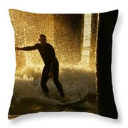 Surfing The Dawn Throw Pillow