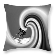 Surfing The Pacific In Black And White Throw Pillow