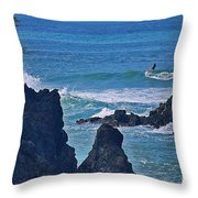Surfing The Rugged Coastline Throw Pillow