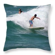 Surfing The White Wave At Huntington Beach Throw Pillow