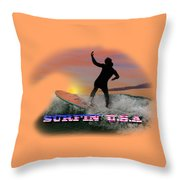 Surfing U.s.a. Throw Pillow