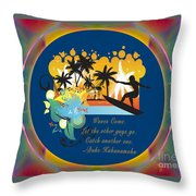 Surfing Waves Of Abstract Art By Omashte Throw Pillow