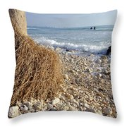 Surfing With Palms Throw Pillow