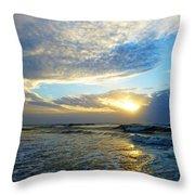 St. Augustine Beach Sunrise Surf Throw Pillow