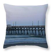 Surfside Beach Pier At Dawn Throw Pillow