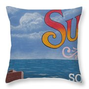 Surfside Beach Sign Throw Pillow