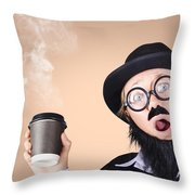 Surprised Business Person High On Coffee Throw Pillow