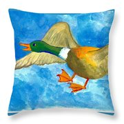 Surprised Flying Duck Detail Of Duck Meets Fairy Ballet Class Throw Pillow