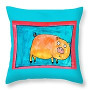 Surprised Pig Throw Pillow