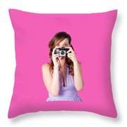 Surprised Woman Taking Picture With Old Camera Throw Pillow