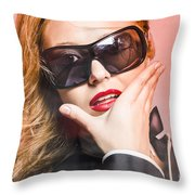 Surprised Young Woman Wearing Fashion Sunglasses Throw Pillow