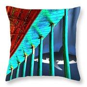 Surreal Bridge Shark Cage Throw Pillow