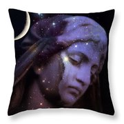 Surreal Celestial Angelic Face With Stars And Moon - Purple Moon Celestial Angel  Throw Pillow