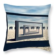 Surreal Elephant Desert Scene Throw Pillow