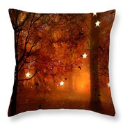 Surreal Fantasy Autumn Woodlands Starry Night Throw Pillow