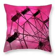 Surreal Fantasy Dark Pink Ferris Wheel Carnival Ride Starry Night - Pink Ferris Wheel Home Decor Throw Pillow