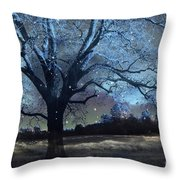 Surreal Fantasy Fairytale Blue Starry Trees Landscape - Fantasy Nature Trees Starlit Night Wall Art Throw Pillow