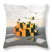 Surreal Floating Cubes Throw Pillow