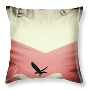 Surreal Image Of Woman With Bird Throw Pillow