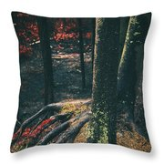 Surreal Red Leaves In A Dark Forest Finland Throw Pillow