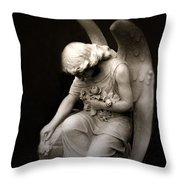 Surreal Sad Angel Kneeling In Prayer Throw Pillow