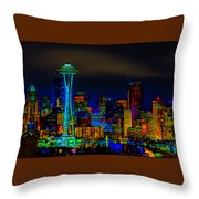 Surreal Seattle Skyline Throw Pillow
