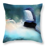 Surreal Stork In A Storm Throw Pillow