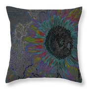 Surreal Sunflower And Bee Throw Pillow