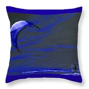 Surreal Surfing Blue Throw Pillow