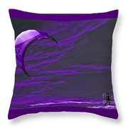 Surreal Surfing Purple Throw Pillow