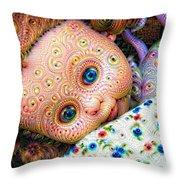 Surreal Trippy Deep Dream Doll Throw Pillow