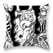 Surrealism Pagan Black And White Throw Pillow