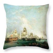 Surrender Of The Santissima Trinidad To Neptune The Battle Of Trafalgar Throw Pillow by Lieutenant Robert Strickland Thomas