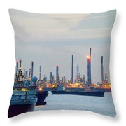 Survey And Cargo Ships Off The Coast Of Singapore Petroleum Refi Throw Pillow