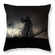 Survivorman Throw Pillow by Stelios Kleanthous