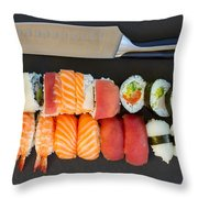 Sushi And Knife Throw Pillow