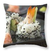 Sushi In Restaurant Throw Pillow