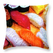 Sushi Plate 4 Throw Pillow