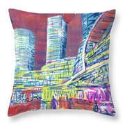 Suzhou Center Mall In The Rain, East Side, Suzhou, China Throw Pillow