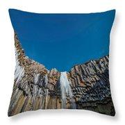 Svartifoss Waterfall, Iceland Black Throw Pillow